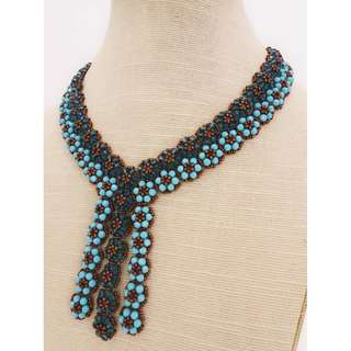 Handmade Turquoise Flower Necklace