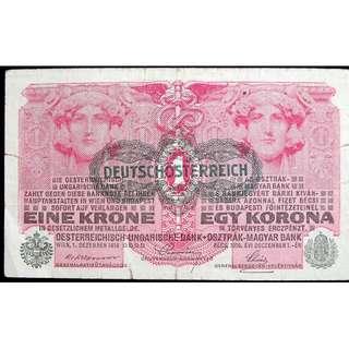 1919年德意志奧地利奧匈銀行建築物仕女頭像柱飾1克郎鈔票(一次大戰戰敗初期)