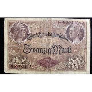 1914年德意志帝國政府日爾曼女神及商務之神頭像20馬克信用券(第一世界大戰時期)