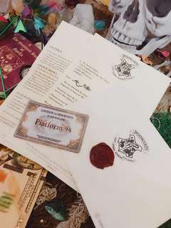 Harry Potter admission letter to Hogwarts School