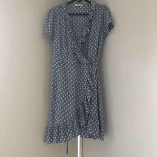 Wrap spot print frill detail tea dress - blue