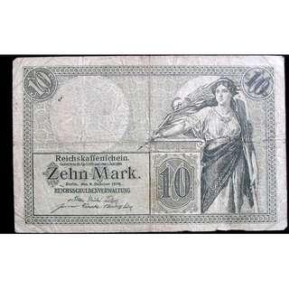 1906年德意志帝國政府日爾曼女神10馬克信用券