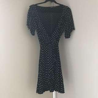 Wrap spot print frill detail tea dress - Black