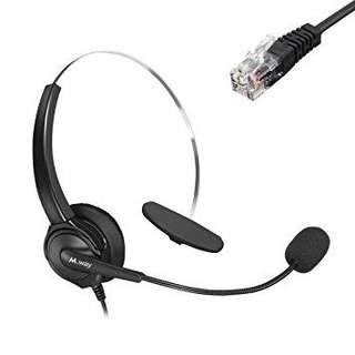 Binaural Crystal Head jack Headset, M.Way Hands-Free Noise Cancelling Binaural Headset Headphones with Mic, Microphone, Comfort Fit Headband Call Center Headset Headphone For Desk Telephone