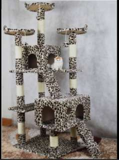 Leopard Print Multi-Level Cat Climbing Tree Cat Condo Cat Playhouse Cat Scratching Post With Side Hammock Bowl