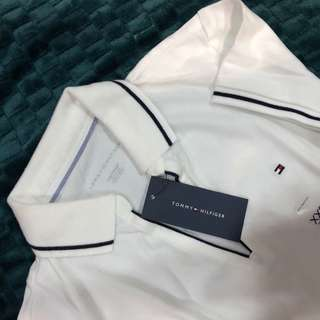 Tommy Hilfiger White Polo T-shirt with Black Outlinr