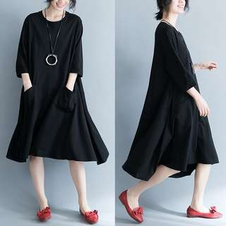 Plus Size Summer simple dress loose A word T-shirt skirt