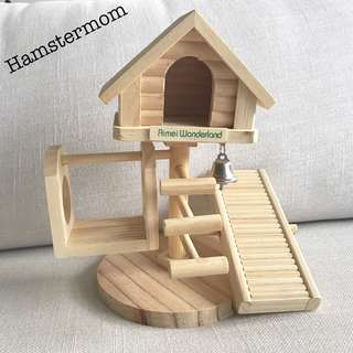 Dwarf Hamster Wooden Playground House with Swing & Ladder Toy