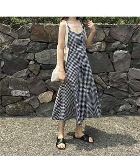 #551 Basic Checkered Self Tie Back Long Dress (PO)