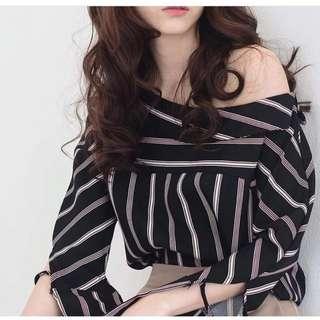 (RS) One Shoulder Stripes Blouse