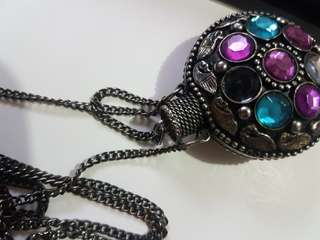 Vintage bejeweled potion canteen necklace