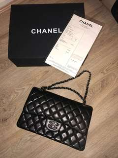 Chanel 2.55 flap bag with silver hardware