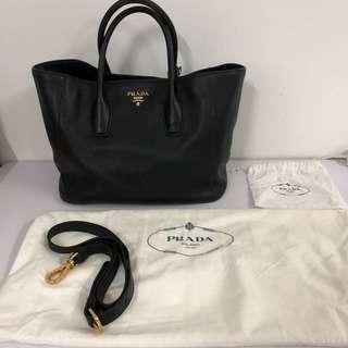 Prada BN2694 Vitello Daino Black Leather Bag