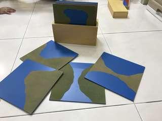 Montessori sandpaper land and water forms board