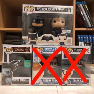 Funko Pop - Batman Vs Superman / Cursed Barbossa / Freddy Funko / Clark Kent