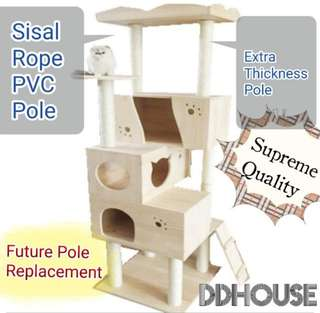 [Instock] PVC upgrade 8.5cm scratch pole Supreme Cat Condo With Extra Large Platform and Multiple Houses Cat Trees Cat Towers Cat Furniture Cat Climbers Cat Scratchers