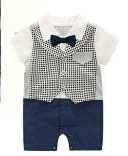 Baby Boy Romper Gentleman Suit with Tie
