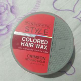 Penshoppe's colored hair wax in crimson (red)