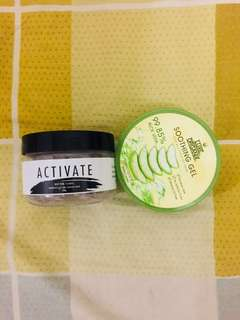 ACTIVATE charcoal mask and ALOE VERA soothing gel