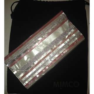 Mimco Pink, Pearl and Silver Glitter Hard Shell Clutch