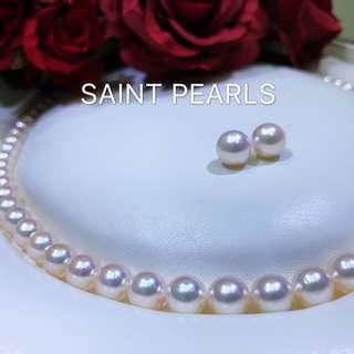 😍日本Akoya 珍珠頸鏈配14K金耳環