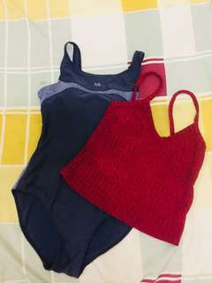 one-piece swimsuit fits medium scale and red v-neck body fit crop top