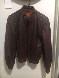 Burgundy genuine leather jacket
