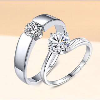 CPR-1003 • Couple💖S925 Silver True Love Wedding Band Rings • FREE SIZE ADJUSTABLE •