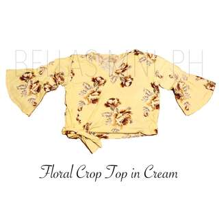 Floral Crop Top (Cream, White)