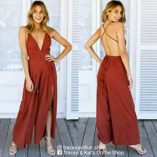Sexy Back Jumpsuit With Slit