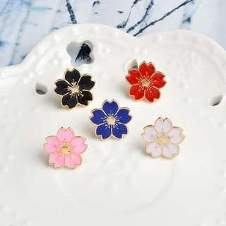 5pcs/set Cherry Blossom Flower Decorative Pin Brooch Badge For Clothes, Bag, Hat, Scarf, School Bag, Pencil Case