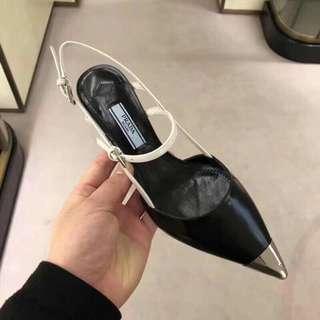 Prada 拼色尖頭高跟鞋6.5cm