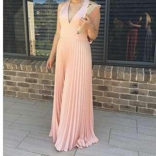 Salmon plunge formal dress