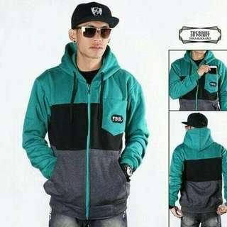 jaket zipper hoodie THE BOJIEL pocket tosca