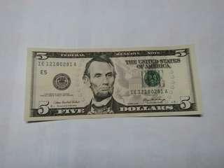美金2006年5元 IE 12180281 A