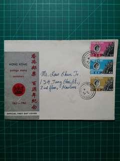 [香港首枚官方首日封]1962 香港郵票百週年 首日封