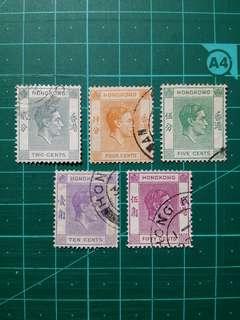 [戰時郵票]1941-46 喬治六世 戰時版通用郵票 舊票五枚