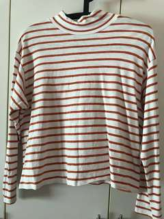 Monki Preloved Women Orange Stripe Long Sleeve Top#ramadan50