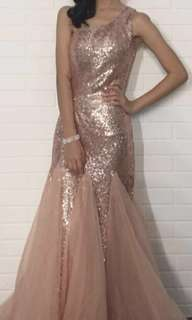 Blush Sequinned Mermaid Dress