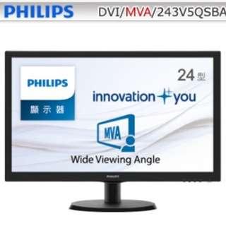 福利品 飛利浦 PHILIPS 243V5QSBA 24吋 液晶螢幕 D-sub DVI 雙介面 18.5.19 原廠保固開始