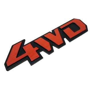 4WD Red Stick-On Emblem Aluminum Logo Car Pick-Up Off-Road SUV Jeep
