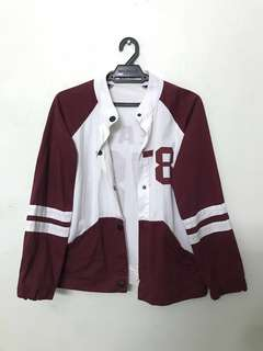Red Wine x White Baseball Jacket #ramadan50