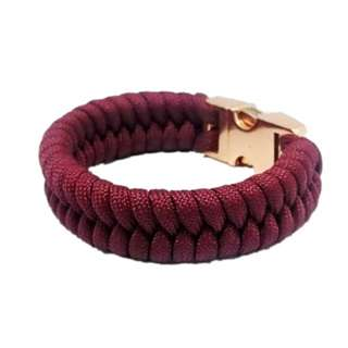 Maroon Wine Red Rose Gold Buckle Fishtail Paracord Survival Bracelet Custom made