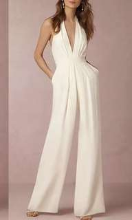 Sexy deep v jumpsuit white