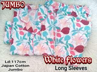 Piyama Long Pants Long Sleeve Jumbo Katun Jepang White Flower