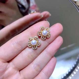 100%天然花花純銀珍珠耳釘