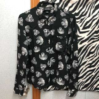 Monki Dog Head Overall Print Shirt