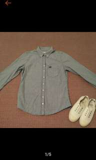 🚚 美國帶回 GILLY HICKS 甜美 藍白 正方格紋 長袖襯衫 9成新