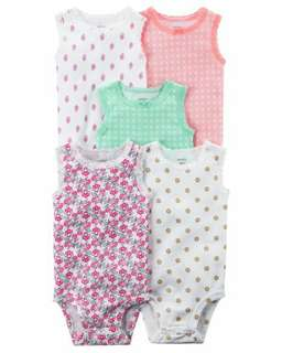 Brand New Instock Carter's 5 Pc Tank Top Sleeveless Rompers Bodysuits Onesies Girls