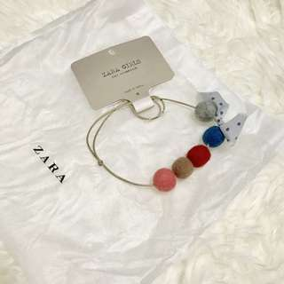 Authentic BNWT ZARA Kids Felt Balls Necklace Free Size
